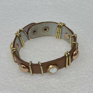 YIK Fung Brown Leather Snap Bracelet